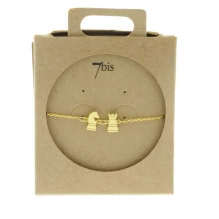 337013DOR Bracelet Cavalier Et Tour Echec Doré Jeu Minimaliste