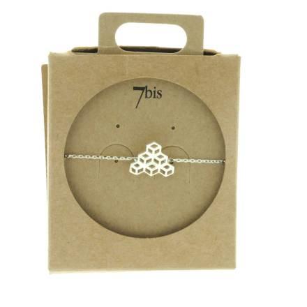 337152ARG Bracelet Cubes Perspective Argenté Empilés Géométrique