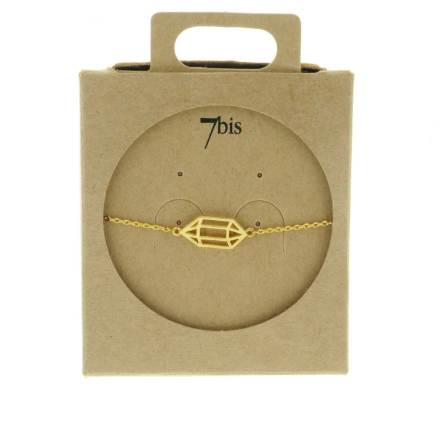 337346DOR Bracelet Polygone Doré Cage Géométrique