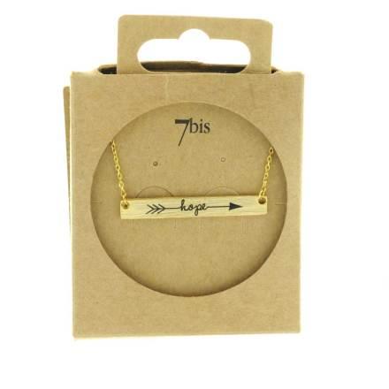 170554DOR Collier Plaque Rectangle Message Doré Design Hope