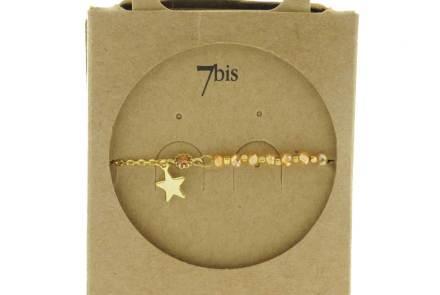 370249PEC Bracelet Moitié Chaîne Doré Pêche Perle De Verres Facetées Et Petite Étoile