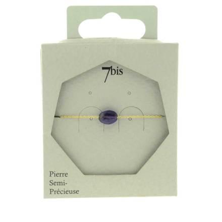 370874VIO Bracelet Ovale Facetté Doré Violet Chaîne Fine Pierre Naturelle