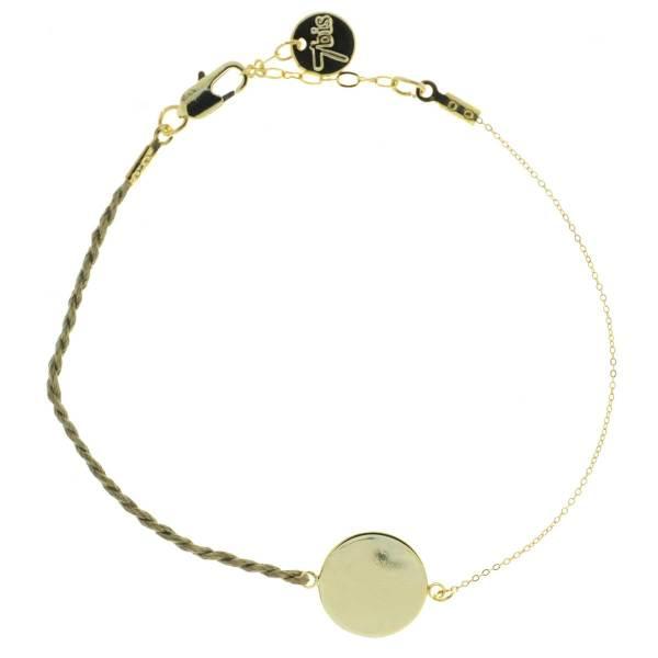 371001BEI Bracelet Pastille Ronde Doré Fil Torsadé Beige