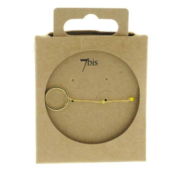 371003JAU Bracelet Anneau Doré Jaune Chaîne Fine Perles De Miuki