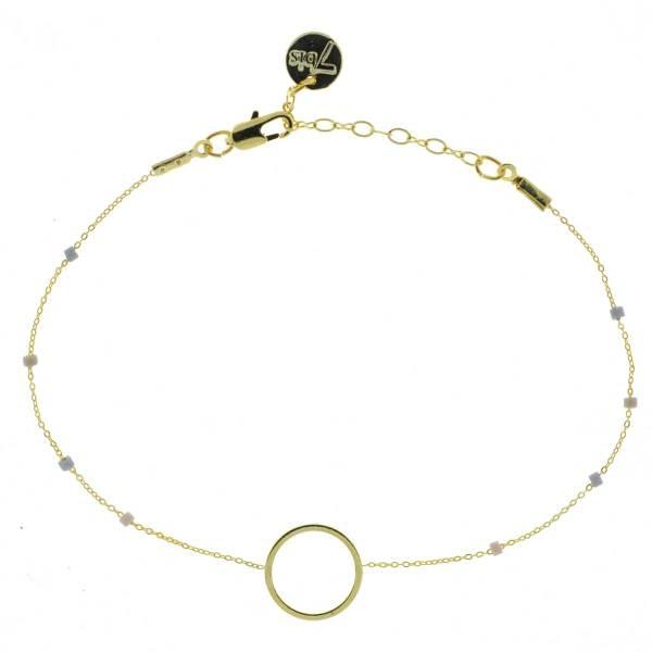 371003PAR Bracelet Anneau Doré Parme Chaîne Fine Perles De Miuki