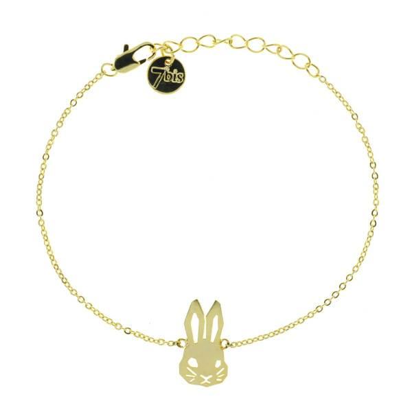 337550DOR Bracelet Lapin Doré De Profil Mignonerie