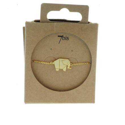 337834DOR Bracelet Éléphant Doré Plein Origami