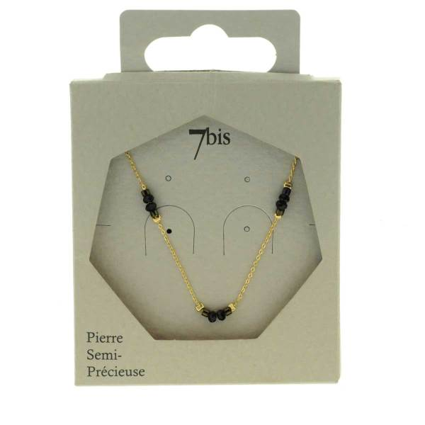 171280GRI Collier Perle Gris Perle Facette