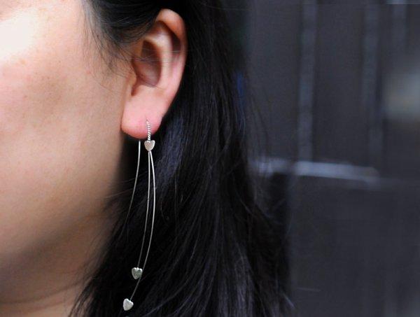 223561ARG Boucles D'oreilles Cœur Argenté Chaîne Extra Fine Pendant
