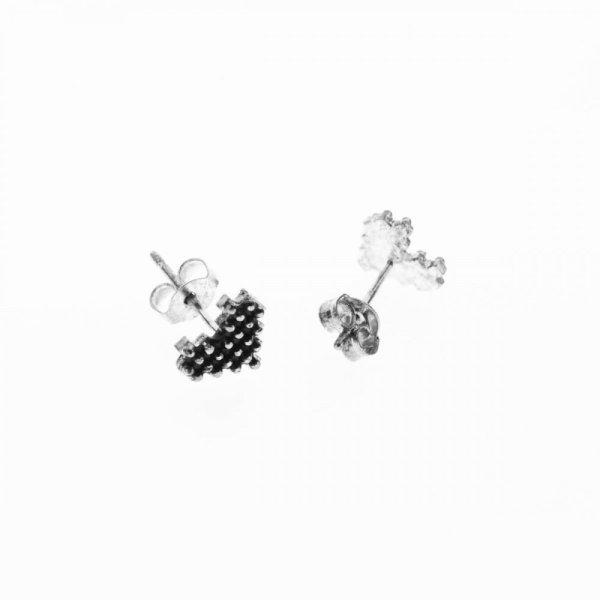 270285ARG Boucles D'oreilles Cœur Argenté Pixel Noir