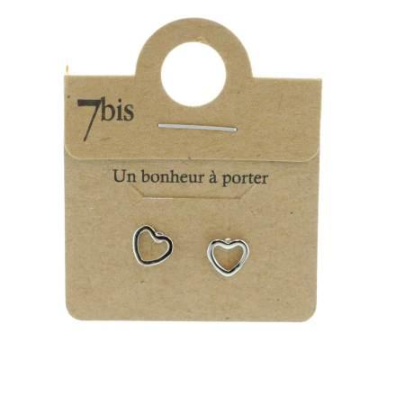 270306ARG Boucles D'oreilles Cœur Argenté Contour Fin