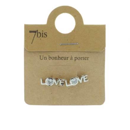 270811ARG Boucles D'oreilles Motif Argenté Love Anneau Ouvert