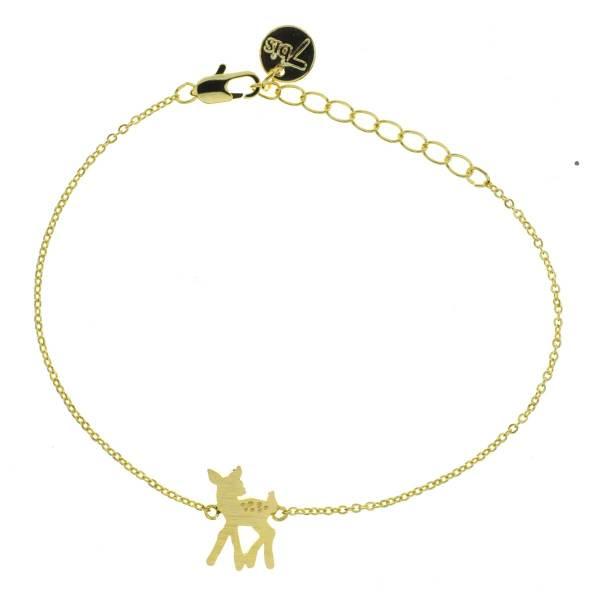 329348DOR Bracelet Faon Doré Bambi Gravé