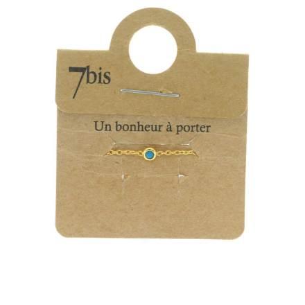 871005TUR Bague Ajustable Coulissante Turquoise Micro Strass Et Chaîne Fine
