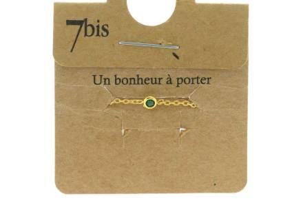 871005VER Bague Ajustable Coulissante Vert Micro Strass Et Chaîne Fine