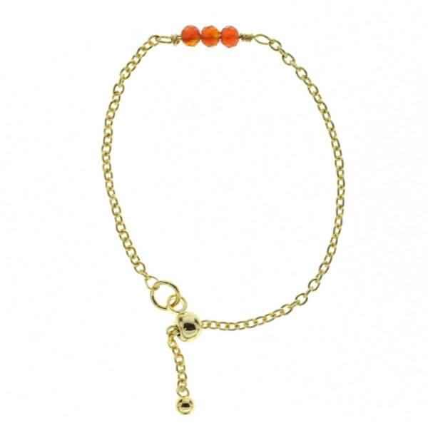 871182ORA Bague Ajustable Coulissante Orange Pierre Semi Précieuse Facette Et Chaîne Fine