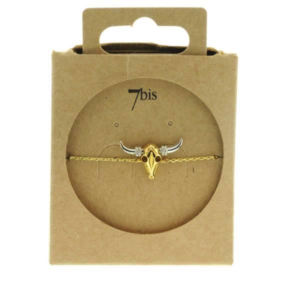 323801DOR Bracelet Tete-de-buffle Or Indien Miniature