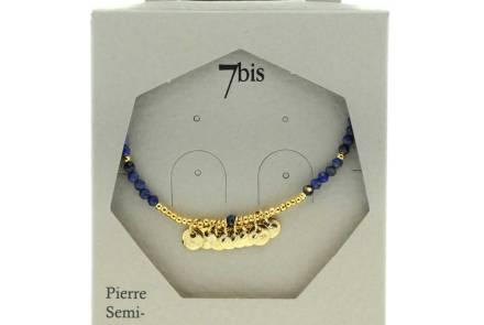 171310BLE Collier 45 Cm Lapis-lazuli Perle Facette Pastille Doré Martelée Délicat