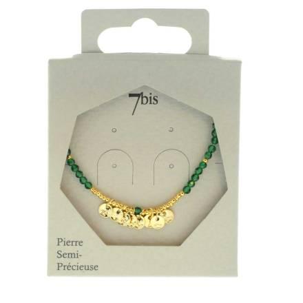 171310VER Collier 45 Cm Agathe Perle Facette Pastille Doré Martelée Délicat