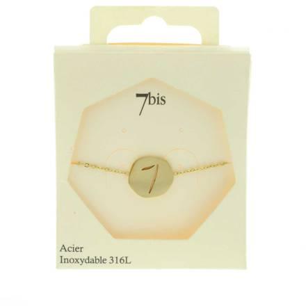370228DORINX Bracelet Médaille Porte Bonheur Doré Acier Inoxydable Chiffre 7