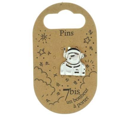 971330ARG Pin's Argenté Astronaute Graphique Art