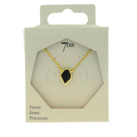 171330NOIDOR Collier Black Paillettes Noir Doré Polygone Brillant