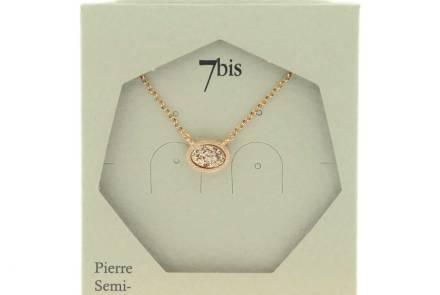 171331TURDORROS Collier Rose Paillettes Doré Rose Ovale Brillant