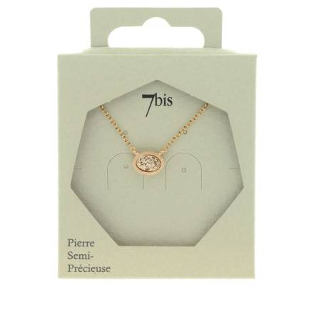 171331TURDORROS Collier Rose Paillettes Doré Rose Ovale Brillant