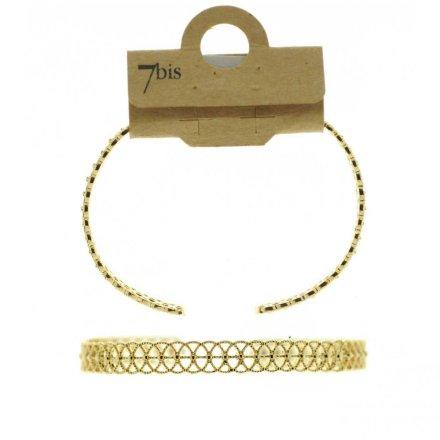 370994DOR Bracelet Jonc Dentelle Doré Délicat Ajustable