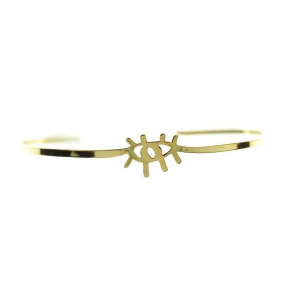 371367DOR Bracelet Jonc Œil Doré Fin Ajustable