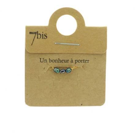 871183BLEMAR Bague Perle D'eau Douce Bleu Marron Coulissante Ajustable