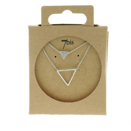 170265ARG Collier Triangle Argenté Double Plein Et Vide
