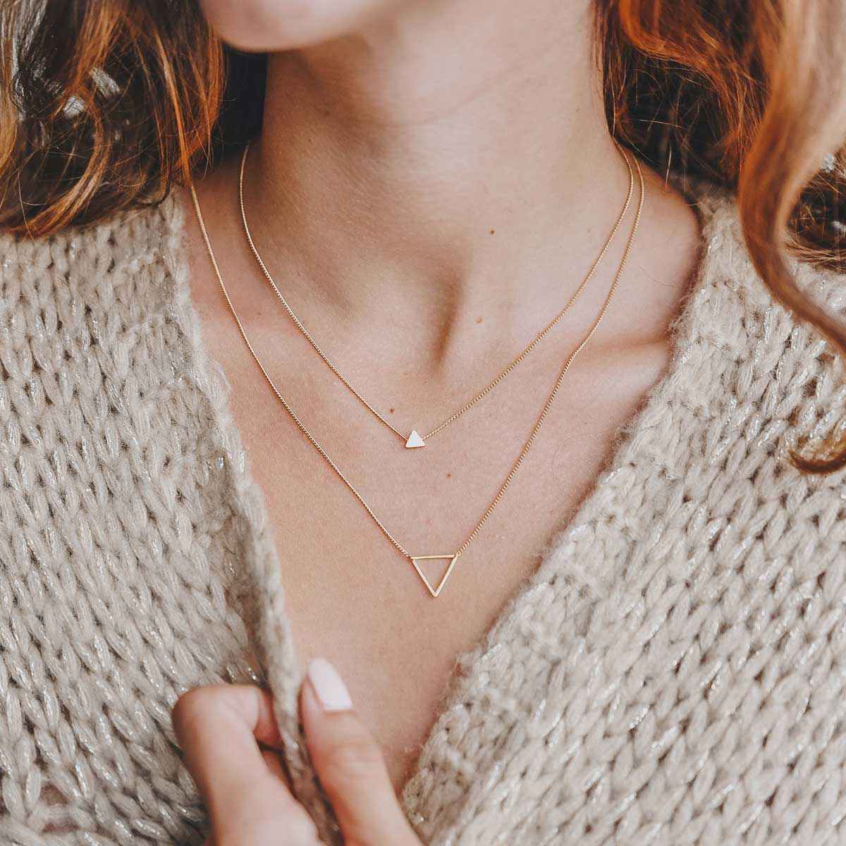 170265DOR Collier Triangle Doré Double Plein Et Vide