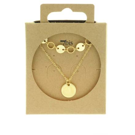 170929DOR Collier Double Doré Pastilles Médaille