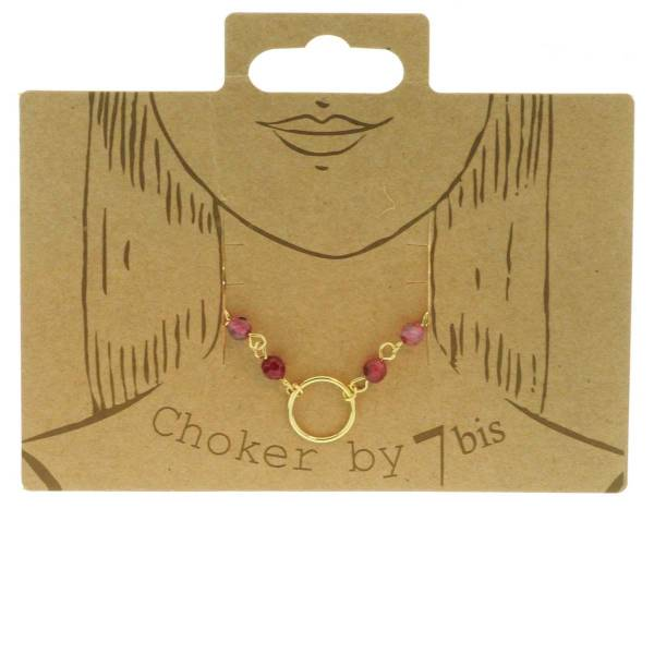 171316ROU Collier Choker Doré Rouge Perles Semi-précieuse
