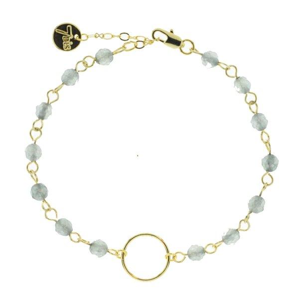 371316GRI Bracelet Bracelet Doré Gris Semi-précieuse Anneau Central