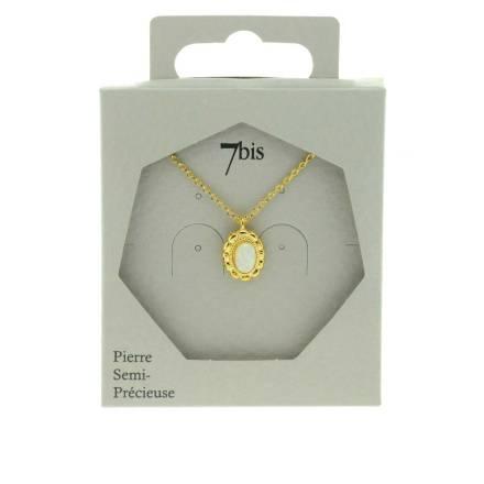171667BLADOR Collier Médaillon Doré Pierre Semi-précieuse Opale Naturelle