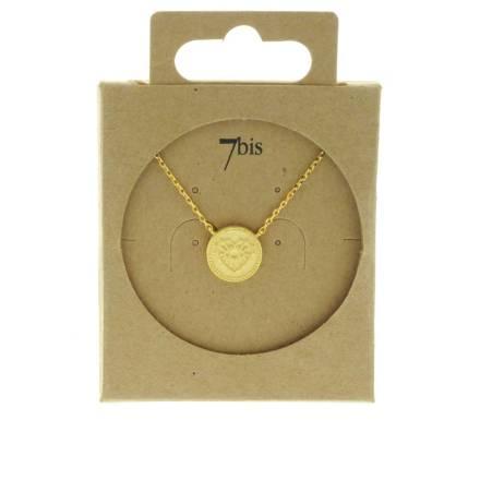 171677DOR Collier Médaille Doré Cœur Gravure