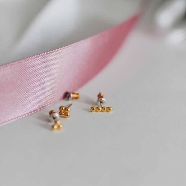 271672DOR Boucles D'oreilles Set Doré Boules Metales Soudées Poli