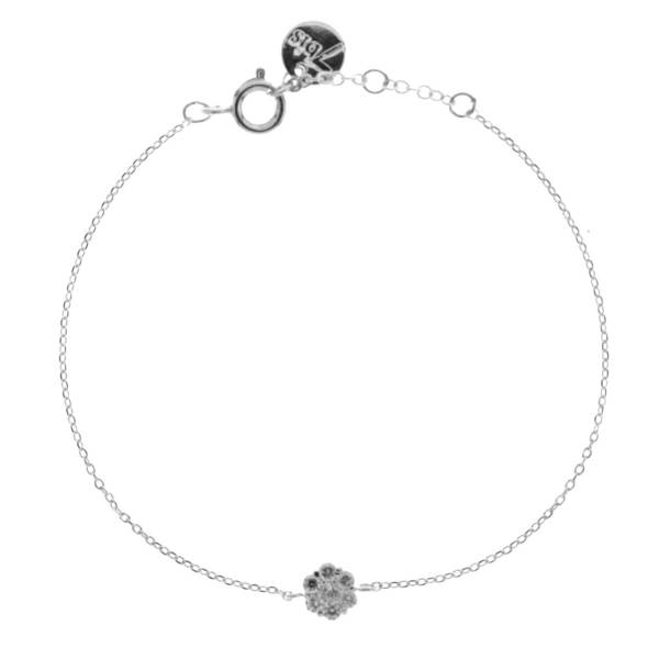 329377ARG Bracelet Fleur Argenté Serti Strass