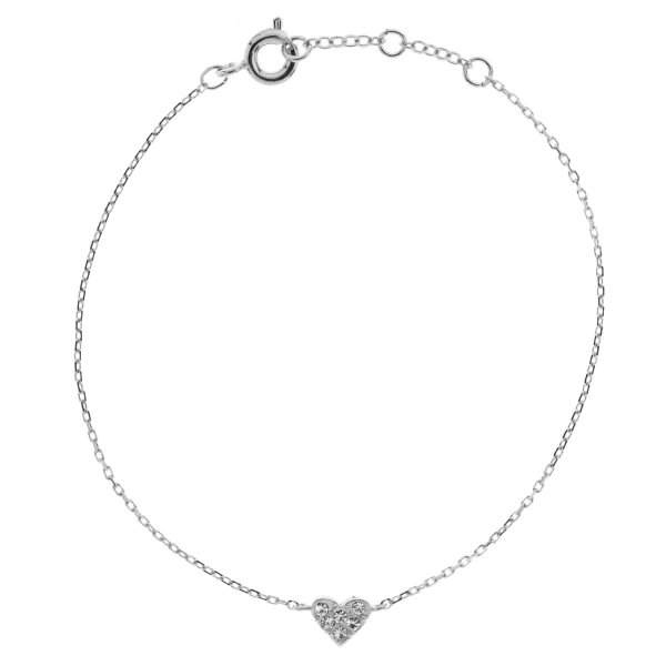 329379ARG Bracelet Cœur Argenté Serti Strass