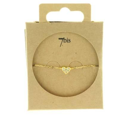329379DOR Bracelet Cœur Doré Serti Strass