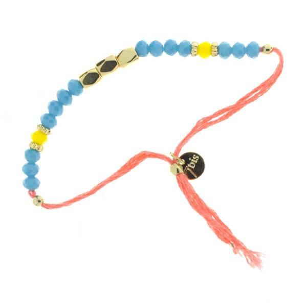 330011C bracelet simple corail bleu perles ajustable collection autres 7bis