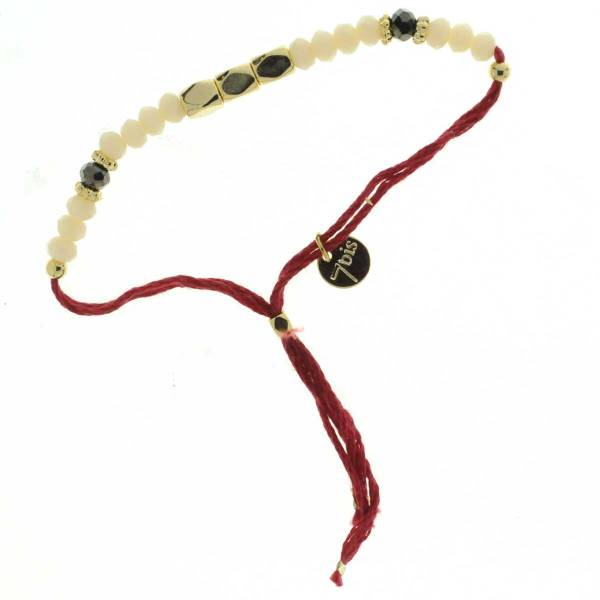 330011D Bracelet simple rouge beige perles ajustable collection autres 7bis