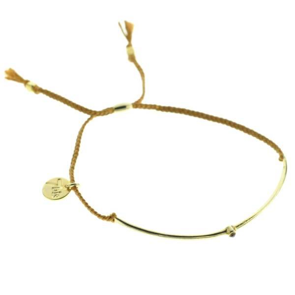 330012B bracelet arc dore marron strass ajustable collection autres 7bis