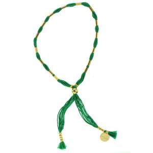 330013D bracelet simple doré vert coton ajustable collection intemporelles 7bis