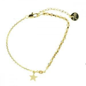 370249BEI Bracelet Moitié Chaîne Doré Beige Perle De Verres Facetées Et Petite Étoile