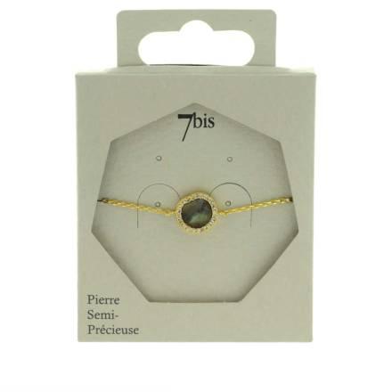 370580GRIDOR Bracelet Pierre Ronde Doré Gris Contour Strass Zircon