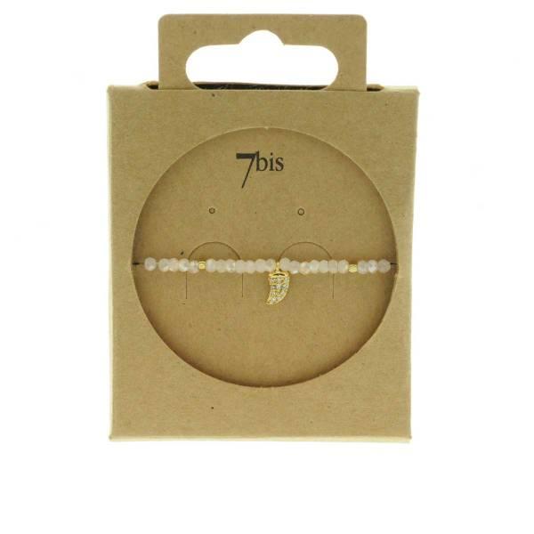 371601ROS Bracelet Élastique Rose Perles Facettes Dent De Requin Strass