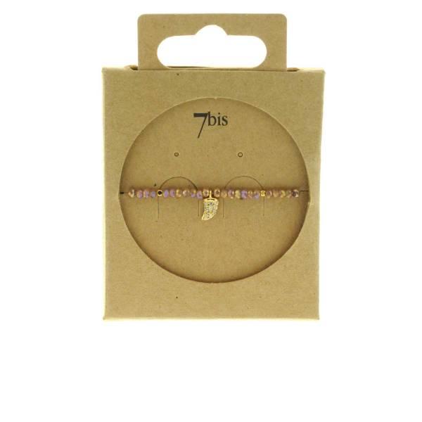 371601VIO Bracelet Élastique Violet Perles Facettes Dent De Requin Strass